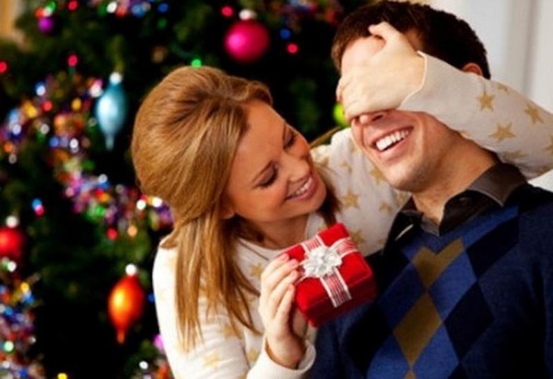 Giving Him Christmas Gift
