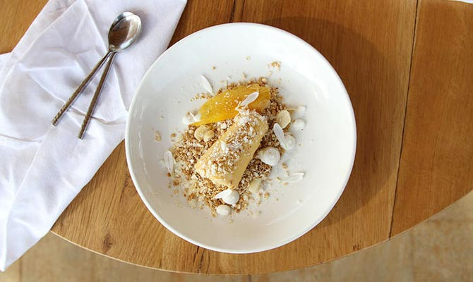 Mango Kulfi With Coconut Mousse and Oat-Ginger Crumb