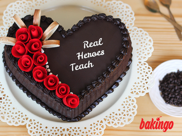 Heart shaped teachers day cake