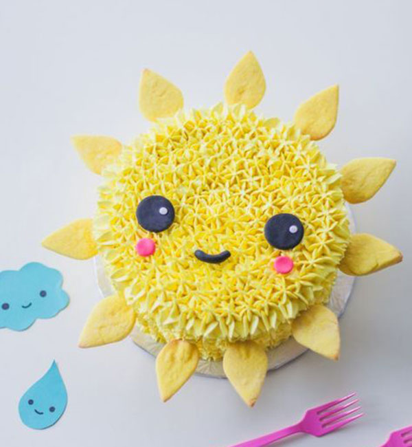 Cream sun cake