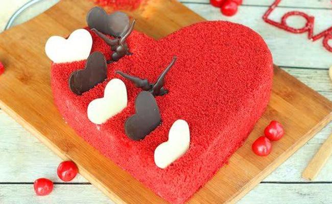 Heart Shape Red Velvet cake for Valentines Day