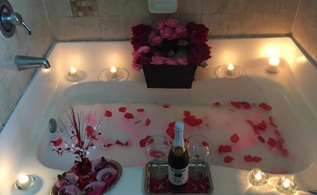celebrate Valentine day at home in bathtub
