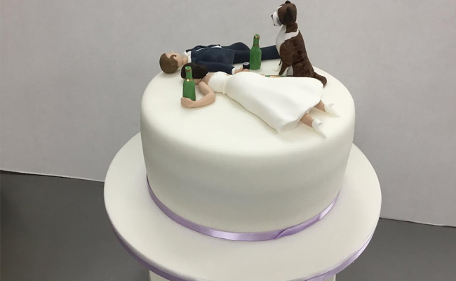 drunked bride cake