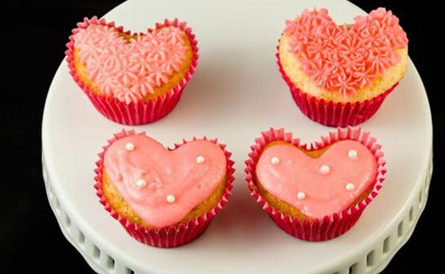 Heart shaped cupcakes