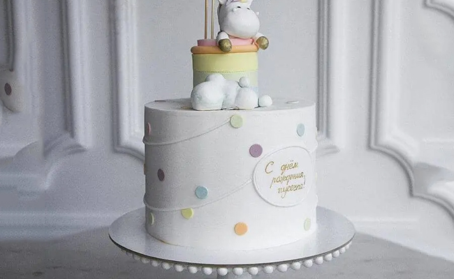 Hippo in the Clouds Fondant Cake for Babyshower