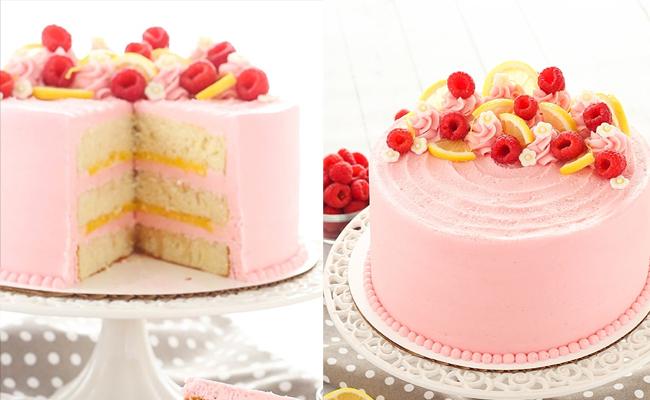 Lemon cake with Raspberry frosting and Lemon buttercream
