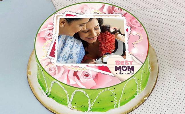Kiwi Photo Cake for Moms day