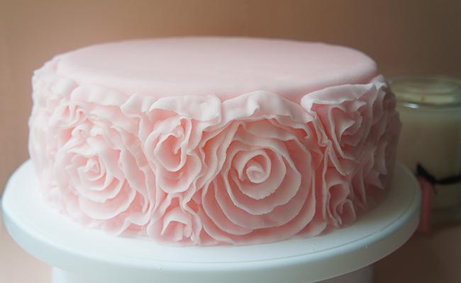 Fondant Ruffle Rose Cake