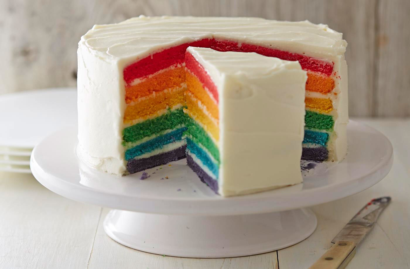 Sliced View of Rainbow Cake