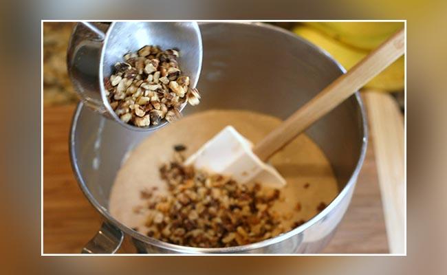 Add walnuts to the batter
