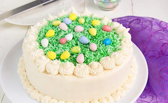 eggs on grass easter cake